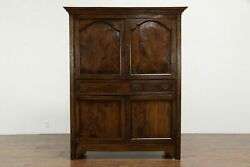 French Country Antique 1790 Elm Farmhouse Cupboard Armoire Or Cabinet 34393