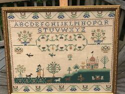 Vintage Framed Needlepoint Sampler From Paragon. Well Executed Example