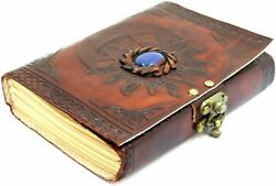 Leather Journal With Unlined Pages Sun And Moon Blue Stone Leather Writing Journal