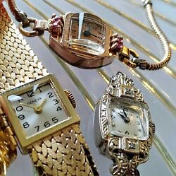 Lot Of 14k Yellow 14k White 14k Rose Gold Watches W/gems For Scrap Repair Parts