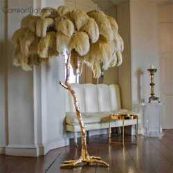 Modern Luxury Ostrich Feather Floor Lamp Copper Brass Gold Nordic Standing Lamp