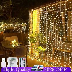 3x3m Led Curtain Fairy String Lights In/outdoor Controller Window Wedding Decors
