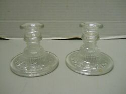Vintage Clear Glass Stars Candle Stick Holders Table Candlestick Set of 2