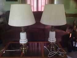 Beautiful Pair Of Stiffel Hollywood Regency Table Lamps With Shades Marked