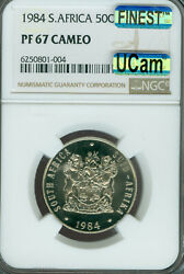 1984 South Africa 50 Cents Ngc Pf67 Cameo Mac Finest Grade Mac Spotless