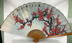 Large Vintage Asian Hand Painted Fan, Wall Hanging See Photos