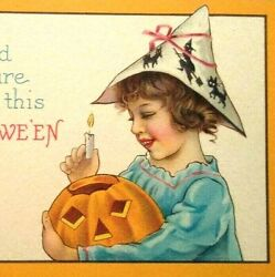 Antique Halloween Postcard Cute Girl In Witches Silhouette Hat Series 1291 D