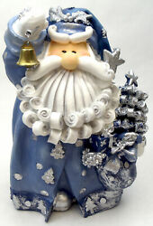 Novelties And Gifts 1256522c 8 Curly Beard Resin Blue Glitter Santa With Gold Bel