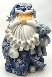 Novelties And Gifts 1256522d 8 Curly Beard Resin Blue Glitter Santa With Star And T