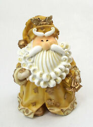 Novelties And Gifts 1256523b 8 Curly Beard Golden Resin Santa With Present
