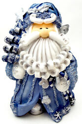 Novelties And Gifts 1256522a 8 Curly Beard Resin Blue Glitter Santa With Christma