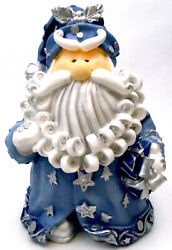 Novelties And Gifts 1256522b 8 Curly Beard Resin Blue Glitter Santa With Silver B