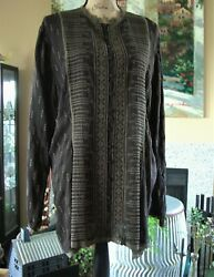 Johnny Was Expresso Brown Semi Sheer 100 Cupra Rayon Button Down Blouse Sz M-l
