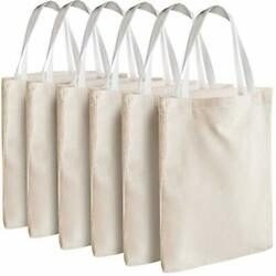 Canvas Tote Bags Bulk 12 Pack 13quot;x11quot; Fabric Blank Tote Bags Natural Cotton $25.49