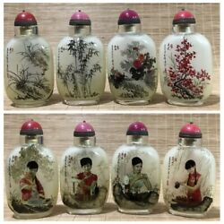 4x Vintage Antiques Chinese Inside Painted Glass Snuff Bottle Bottles Sets Group