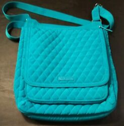 Vera Bradley Quilted Hipster Crossbody Purse Sea Blue Turquoise VG $17.00