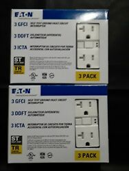 6-pack Eaton White 20-amp Tamper Resistant Gfci Residential Outlet Trsgf20w-3-lw