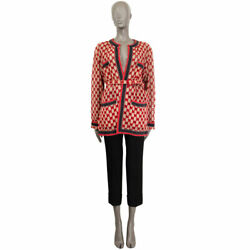 63103 Auth Beige And Red Cotton Gg Macrame Belted Oversized Jacket 40 S