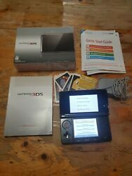 Nintendo 3ds Cosmo Black Handheld Console Ctr-001 - Works - Includes Box Charger
