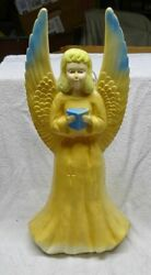 Vintage - Lighted - Blow Mold Angel 7510 - Union Products - Usa Made - Nice