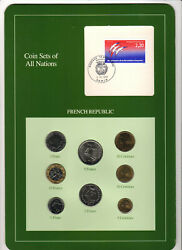 Coin Sets Of All Nations - France, 1986-1990, 8 Coin Set. 5 Cent - 10 Francs Unc