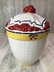 Department 56 Life Is A Bowl Of Cherries Cookie Jar 10.5 Tall And Wide Retired