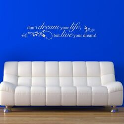 Don't Dream Your Life, But Live Your Dream' Sticker Quote Red 59 Inches X 14 In