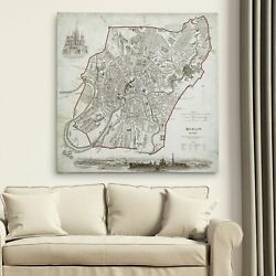 Antique Heart Map - Premium Gallery Wrapped Canvas Large
