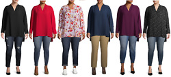 Terra And Sky Plus Size Woven V-neck Tunic Top With Long Sleeves