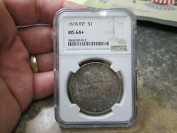 1878 Us Morgan Silver Dollar Ngc 8 Tail Feathers Uncirculated Ms64+ Nice Rainbow