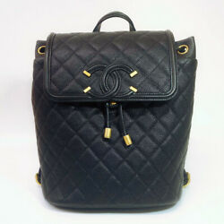 Chanel Backpack Caviar Skin Black Day Pack Women #x27;S Secondhand $5632.38