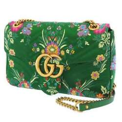 Chain Shoulder Bag Gg Marmont Satin Embroidery 443496 Flower 2way