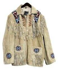 Menand039s Native American Western Jacket Suede Leather Fringes And Beads Work Coat