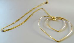 Classic14k Gold 30 Strong Fancy Box Chain With Giant 3 Heart Necklace 14.3gr