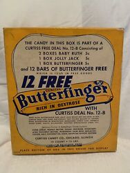 Vintage Butterfinger 3 Candybar Cardboard Display Box 5 Cents. Rare 3 Candy Bars