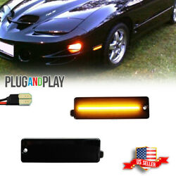 Smoked Amber Led Front Bumper Side Marker Lights For 1998-2002 Pontiac Firebird