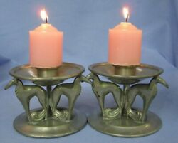 Art Deco Borzoi Pewter Candle Holders Weidlich Brothers Wb Dog