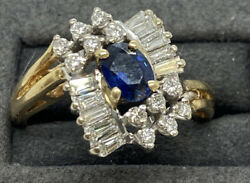 14k Gold Diamond Saphire Ring-round Baguette And Oval Cut Stones