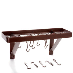Oiled Bronze Wall Mount Bookshelf Pot Rack With Grid And 8-hooks