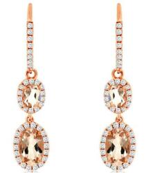 1.45ct Diamond And Aaa Morganite 14kt Rose Gold 3d Oval And Round Hanging Earrings