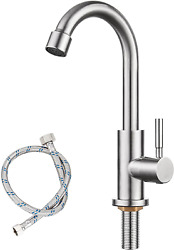 Cold Water Stainless Single Hole Faucet Tap For Bathroom Kitchen Sink Garden Bar