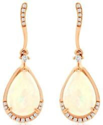 3.57ct Diamond And Aaa Opal 14k Rose Gold Pear Shape And Round Wave Hanging Earrings