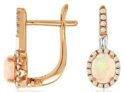 .60ct Diamond And Aaa Opal 14kt Rose Gold Oval Round And Baguette Hanging Earrings