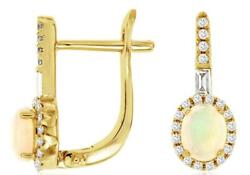 .60ct Diamond And Aaa Opal 14kt Yellow Gold 3d Round And Baguette Hanging Earrings