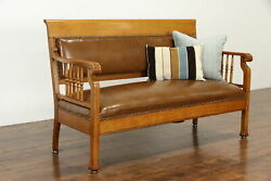 Victorian Antique Oak Railroad Bench Or Hall Settee New Leather 37825