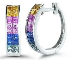 2.45ct Aaa Multi Color Sapphire 14kt White Gold 3d Princess Invisible Earrings