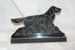 Vintage English Setter Dog Door Stop Lacquer And Wood Display