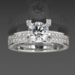 Lady Si2 Natural 3.18 Ct Solitaire And Accents Diamond Ring 14k White Gold Round