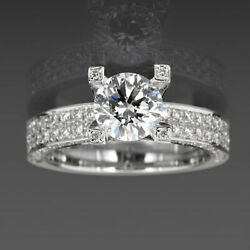 Diamond Solitaire And Accents Ring 14k White Gold Lady 2.87 Ct Size 4.5 5 6 7 8