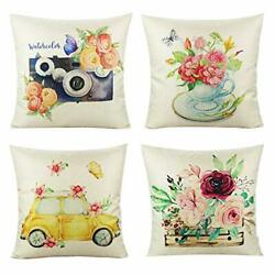 Outdoor Throw Pillow Covers Watercolor Flowers 4 pieces 18quot;x18quot; Spring